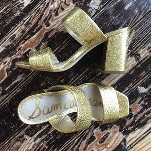 Sam Edelman Gold Block Heel Square Toe Sandal